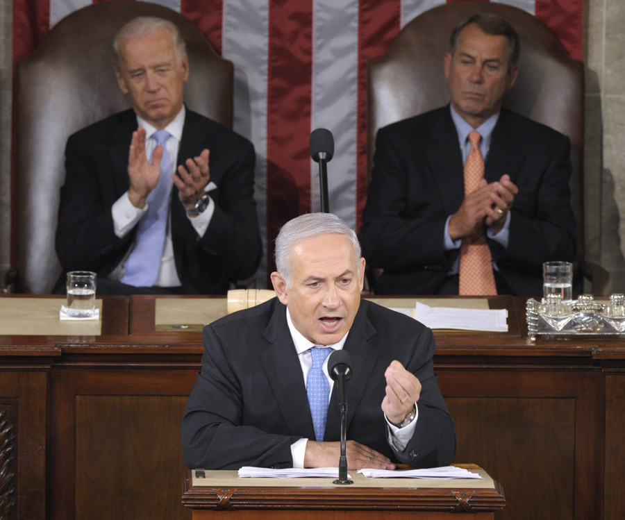 Israeli Prime Minister Benjamin Netanyahu addresses a joint meeting of Congress on Capitol Hill in Washington, Tuesday, May 24, 2011. Vice President Joe Biden, left, and House Speaker John Boehner of Ohio, right, listen. (AP Photo/Susan Walsh) via Salon.com