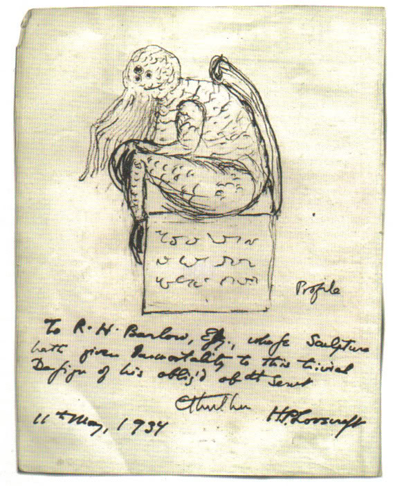 Cthulhu sketch by Lovecraft from Flax5 via Wikimedia Commons