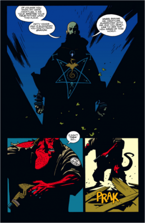 Visual elements of Mignola's Hellboy include creative page layouts, strong shadows, monochromatic background colors, and black gutters. All rights to this image belong to Mike Mignola and Dark Horse Comics.