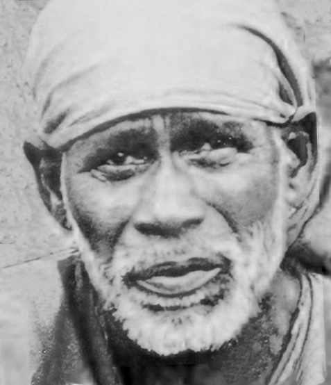 The kindhearted, avuncular face of Shirdi Sai Baba (d. 1918)