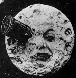 A classic case of facial pareidolia in the 1902 George Méliès silent film Voyage dans la Lune (A Trip to the Moon, 1902)