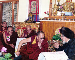 The XIV Dalai Lama and Rabbi Zalman Schachter-Shalomi, India, 1990