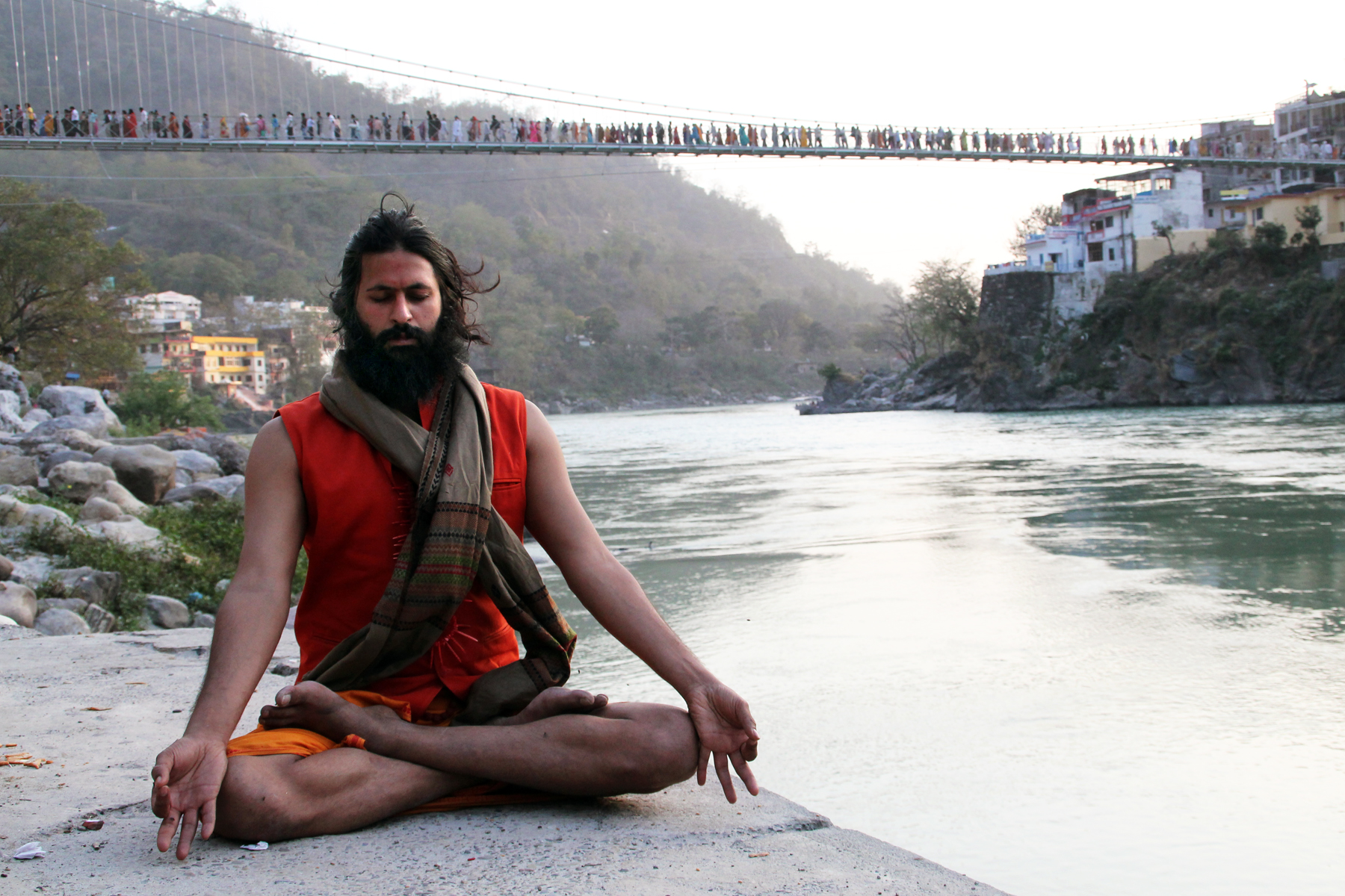 Vikram as Kumaré in Rishikesh, India. Credit Kino Lorber, Inc.
