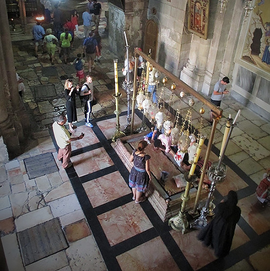 Pilgrims in the Church of the Holy Sepulcher