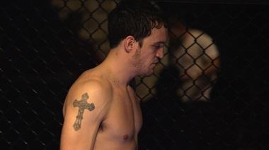 "Pastor Preston Hocker before an MMA flight during the film ""Fight Church."""