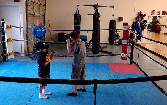 Boys spar at the Mars Hill Church Eastside MMA Club.