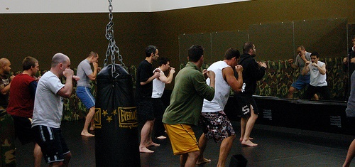 Men train at the Mars Hill Church Eastside MMA Club.