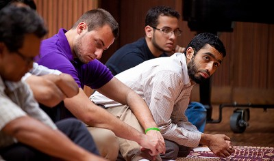 Emory University students gather for Jummah prayers held in the campus' Canon Chapel, August 2011. Available via Emory Photo Video.