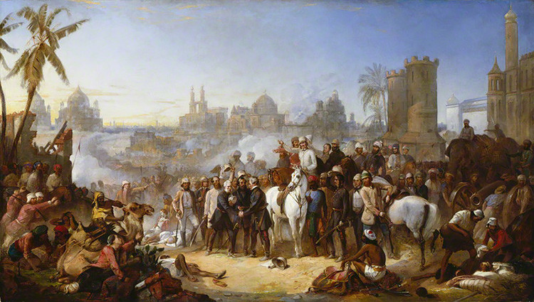 The Relief of Lucknow, 1857 by Thomas Jones Barker oil on canvas, 1859 41 1/2 in. x 71 3/8 in. (1054 mm x 1813 mm) Purchased, 1985 Primary Collection NPG 5851