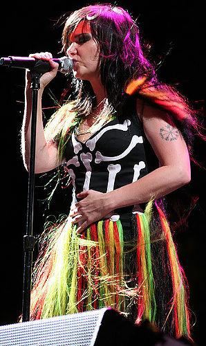 Björk performing on Day 1 of Coachella 2007
