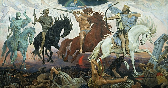 Four Horsemen of Apocalypse, by Viktor Vasnetsov. Painted in 1887. Available via Wikimedia Commons.