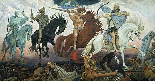 Four Horsemen of Apocalypse, by Viktor Vasnetsov. Painted in 1887. Available via Wikimedia Commons.