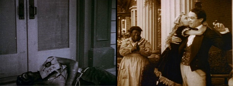 FROM LEFT TO RIGHT: The Klan murders Gus to retaliate for Flora's death. Mammy, played in blackface makeup by white actress Jenny Lee, serves as a gross caricature and counter to the film's mediations on white female beauty.