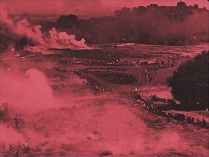 Tinted battlefield scene invokes photographic record of the Civil War.