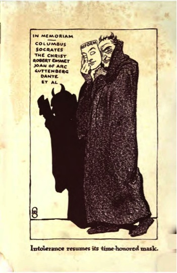 : Illustration in Griffith's The Rise and Fall of Free Speech in America (1916). Source: Internet Archive.