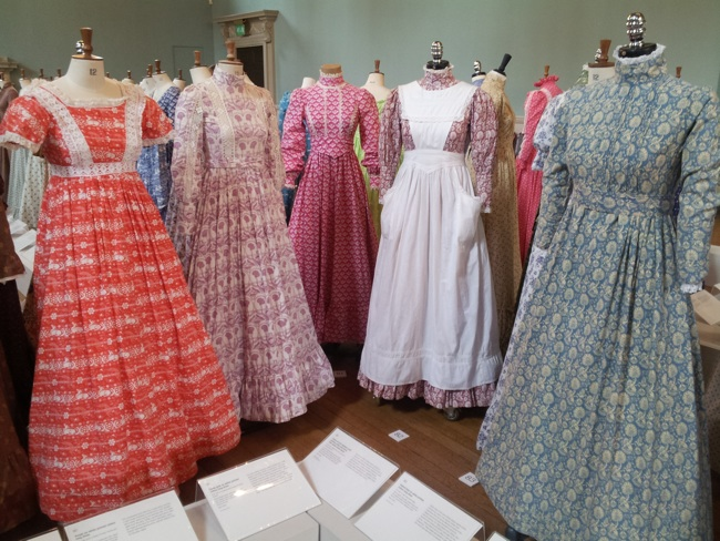 Mid 1970s dresses by Laura Ashley exhibited at the Fashion Museum, Bath in 2013. Available via Wikipedia