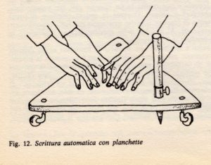 """Automatic Writing with Planchette."" By Unknown - Claudio Marchiaro e Frank Bonethe, ""Lo spiritismo la teoria e le tecniche"", Milano 1978, pag. 70, Public Domain, via Wikimedia Commons."