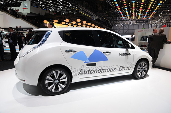 Nissan autonomous car prototype (using a Nissan Leaf electric car) exhibited at the Geneva Motor Show 2014 Image via: Wikipedia