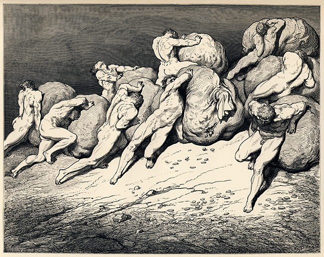 "Gustave Doré's illustration to Dante's Inferno. Plate XXII: Canto VII: The hoarders and wasters. ""For all the gold that is beneath the moon, / Or ever has been, of these weary souls / Could never make a single one repose"" (Longfellow's translation) ""Not all the gold that is beneath the moon / Or ever hath been, or these toil-worn souls / Might ever purchase rest for one"" (Cary's translation). Image via Wikimedia Commons"